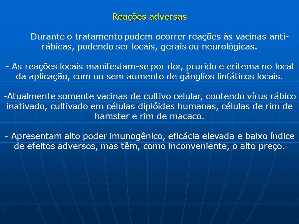 Reações adversas Reações adversas Durante o tratamento podem ocorrer reações às vacinas anti- rábicas, podendo ser locais, gerais ou neurológicas. - A