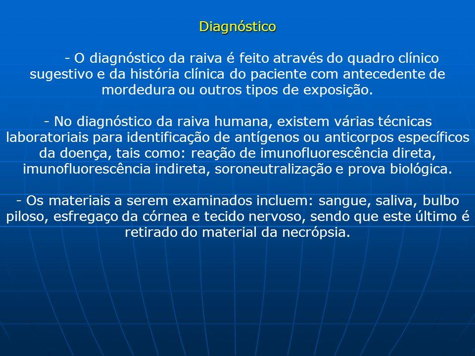Diagnóstico Diagnóstico - O diagnóstico da raiva é feito através do quadro clínico sugestivo e da história clínica do paciente com antecedente de mord