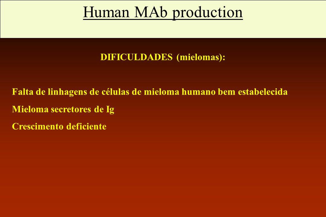 Anticorpos monoclonais humanos DIFICULDADES (mielomas): Falta de linhagens de células de mieloma humano bem estabelecida Mieloma secretores de Ig Cres