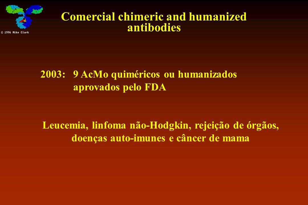 Comercial chimeric and humanized antibodies 2003: 9 AcMo quiméricos ou humanizados aprovados pelo FDA Leucemia, linfoma não-Hodgkin, rejeição de órgão