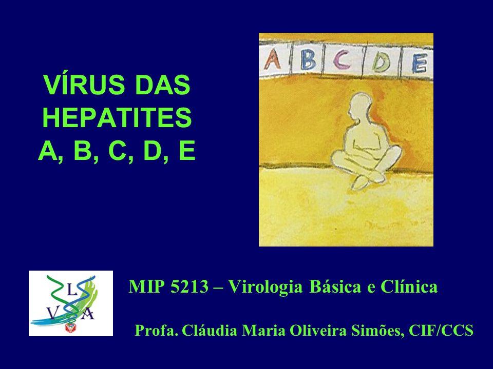 VÍRUS DAS HEPATITES A, B, C, D, E MIP 5213 – Virologia Básica e Clínica Profa. Cláudia Maria Oliveira Simões, CIF/CCS