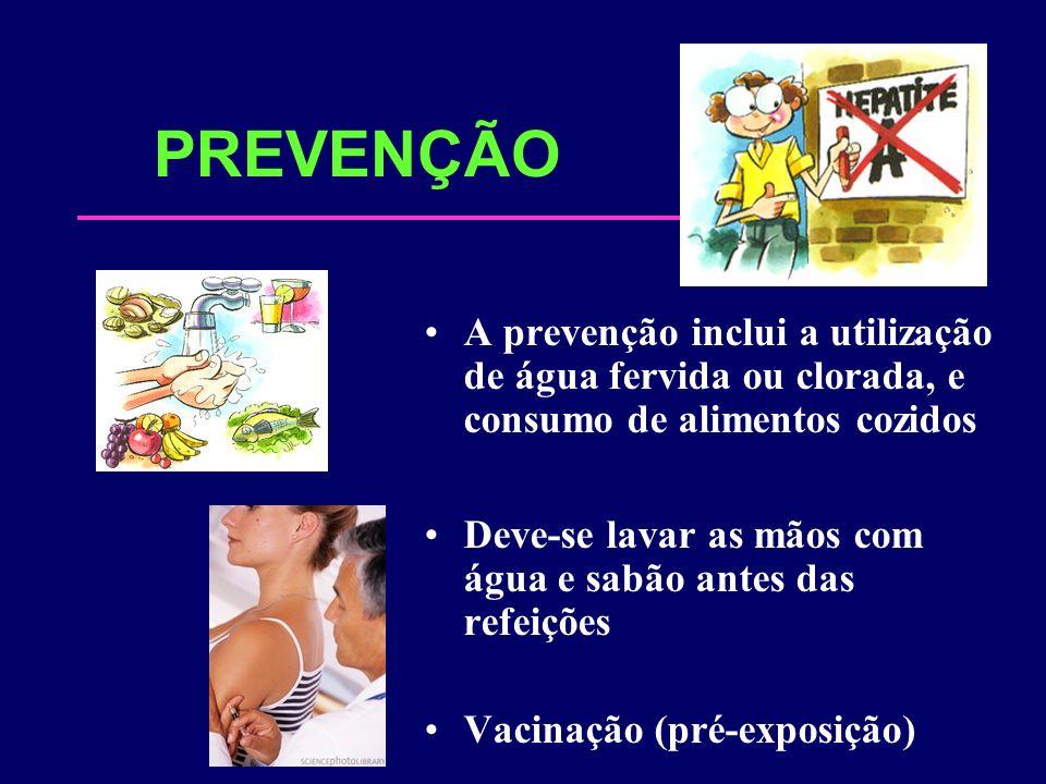 PREVENÇÃO A prevenção inclui a utilização de água fervida ou clorada, e consumo de alimentos cozidos Deve-se lavar as mãos com água e sabão antes das