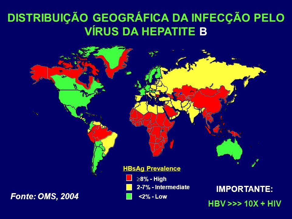 DISTRIBUIÇÃO GEOGRÁFICA DA INFECÇÃO PELO VÍRUS DA HEPATITE B HBsAg Prevalence 8% - High 2-7% - Intermediate <2% - Low Fonte: OMS, 2004 IMPORTANTE: HBV >>> 10X + HIV