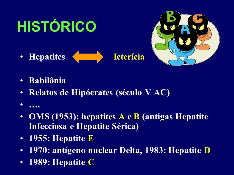 HISTÓRICO Hepatites Icterícia Babilônia Relatos de Hipócrates (século V AC) …. OMS (1953): hepatites A e B (antigas Hepatite Infecciosa e Hepatite Sér