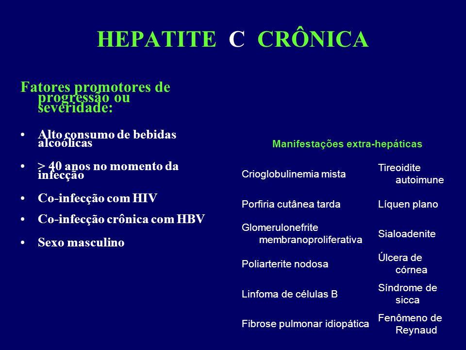 HEPATITE C CRÔNICA Fatores promotores de progressão ou severidade: Alto consumo de bebidas alcoólicas > 40 anos no momento da infecção Co-infecção com HIV Co-infecção crônica com HBV Sexo masculino Manifestações extra-hepáticas Crioglobulinemia mista Tireoidite autoimune Porfiria cutânea tardaLíquen plano Glomerulonefrite membranoproliferativa Sialoadenite Poliarterite nodosa Úlcera de córnea Linfoma de células B Síndrome de sicca Fibrose pulmonar idiopática Fenômeno de Reynaud