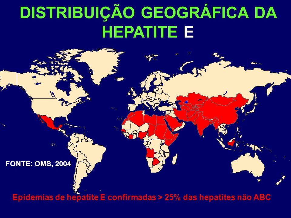 DISTRIBUIÇÃO GEOGRÁFICA DA HEPATITE E FONTE: OMS, 2004 Epidemias de hepatite E confirmadas > 25% das hepatites não ABC