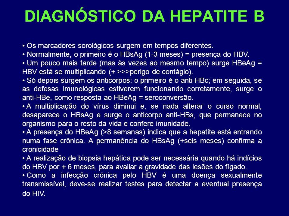 DIAGNÓSTICO DA HEPATITE B Os marcadores sorológicos surgem em tempos diferentes. Normalmente, o primeiro é o HBsAg (1-3 meses) = presença do HBV. Um p