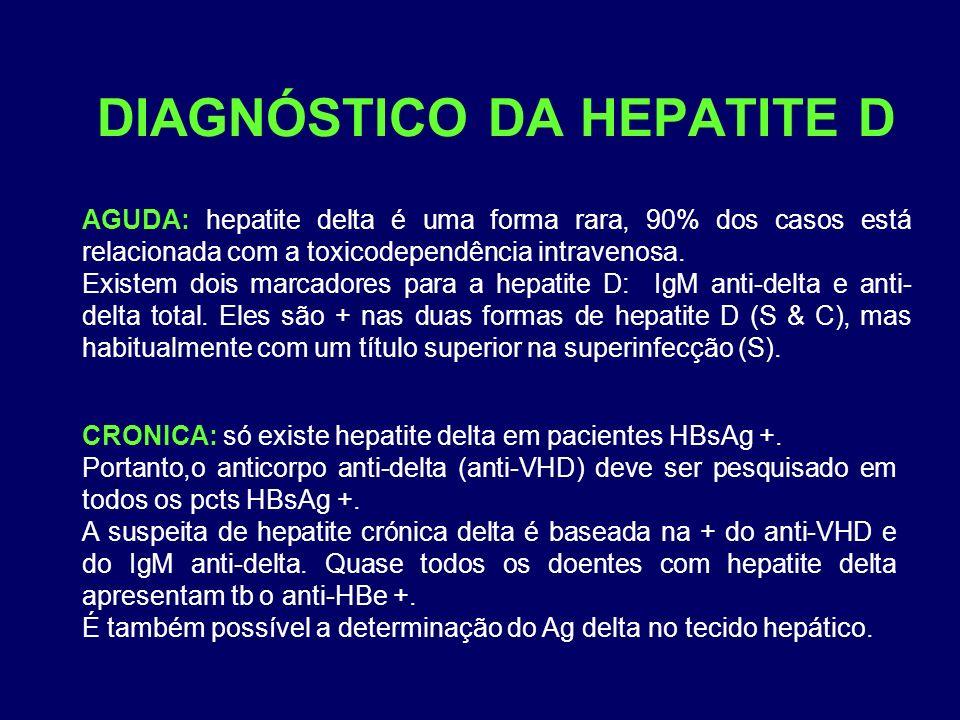 DIAGNÓSTICO DA HEPATITE D AGUDA: hepatite delta é uma forma rara, 90% dos casos está relacionada com a toxicodependência intravenosa. Existem dois mar