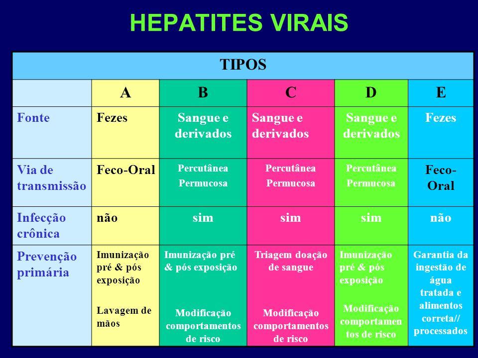 HEPATITES VIRAIS TIPOS ABCDE FonteFezesSangue e derivados Fezes Via de transmissão Feco-Oral Percutânea Permucosa Percutânea Permucosa Percutânea Perm
