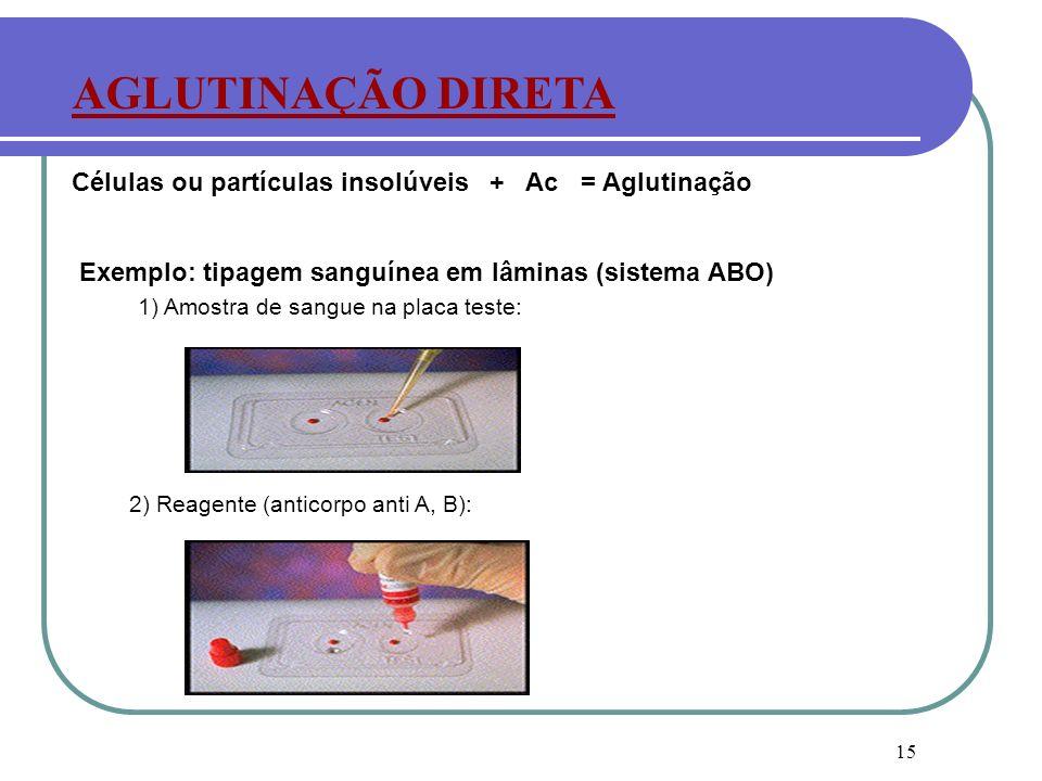 15 2) Reagente (anticorpo anti A, B): AGLUTINAÇÃO DIRETA 1) Amostra de sangue na placa teste: Exemplo: tipagem sanguínea em lâminas (sistema ABO) Célu