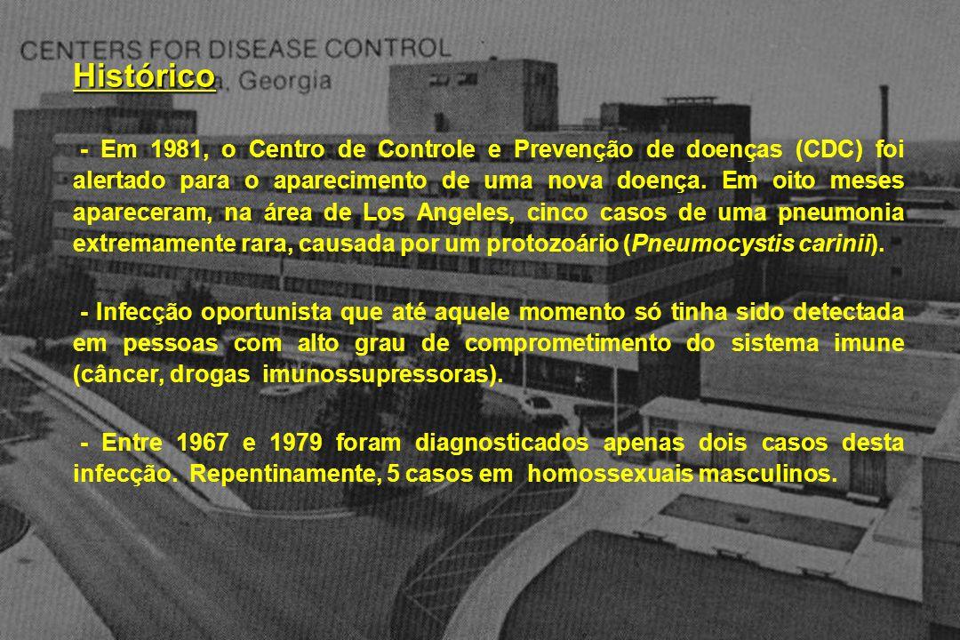 Histórico - Em 1981, o Centro de Controle e Prevenção de doenças (CDC) foi alertado para o aparecimento de uma nova doença. Em oito meses apareceram,