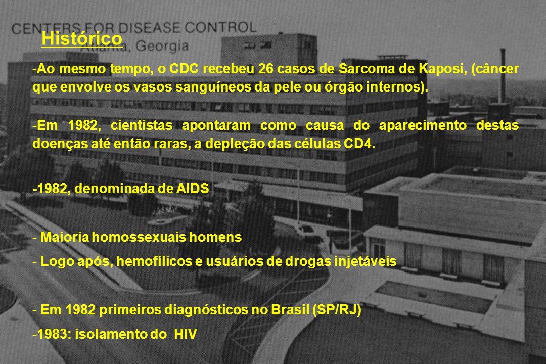 Histórico -Ao mesmo tempo, o CDC recebeu 26 casos de Sarcoma de Kaposi, (câncer que envolve os vasos sanguíneos da pele ou órgão internos). -Em 1982,