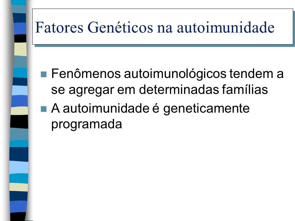 Fatores Genéticos na autoimunidade n Fenômenos autoimunológicos tendem a se agregar em determinadas famílias n A autoimunidade é geneticamente program