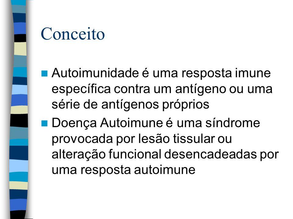Conceito Autoimunidade é uma resposta imune específica contra um antígeno ou uma série de antígenos próprios Doença Autoimune é uma síndrome provocada