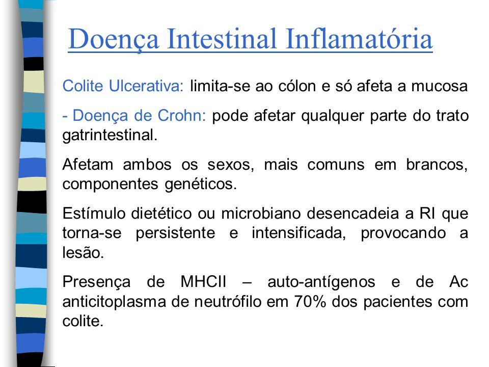 Doença Intestinal Inflamatória Colite Ulcerativa: limita-se ao cólon e só afeta a mucosa - Doença de Crohn: pode afetar qualquer parte do trato gatrin