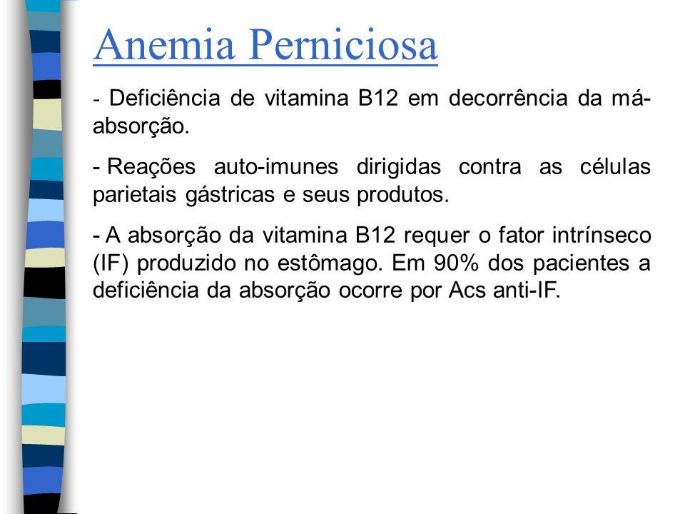 Anemia Perniciosa - Deficiência de vitamina B12 em decorrência da má- absorção. - Reações auto-imunes dirigidas contra as células parietais gástricas