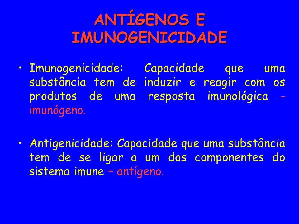 ALTO PESO MOLECULAR Tamanho da molécula < 1.000 Da: Não imunogênicas 1.000 e 6.000 Da: pode ser imunogênica > 6.000 Da: são imunogênicas mais facilmente fagocitada