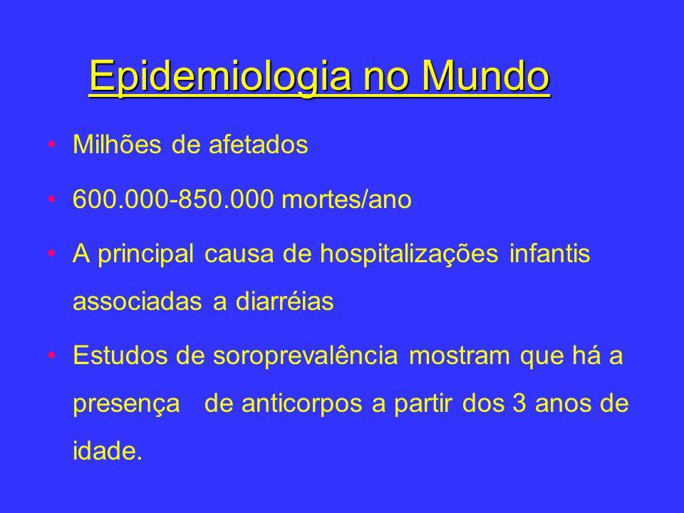 Epidemiologia no Mundo Milhões de afetados 600.000-850.000 mortes/ano A principal causa de hospitalizações infantis associadas a diarréias Estudos de