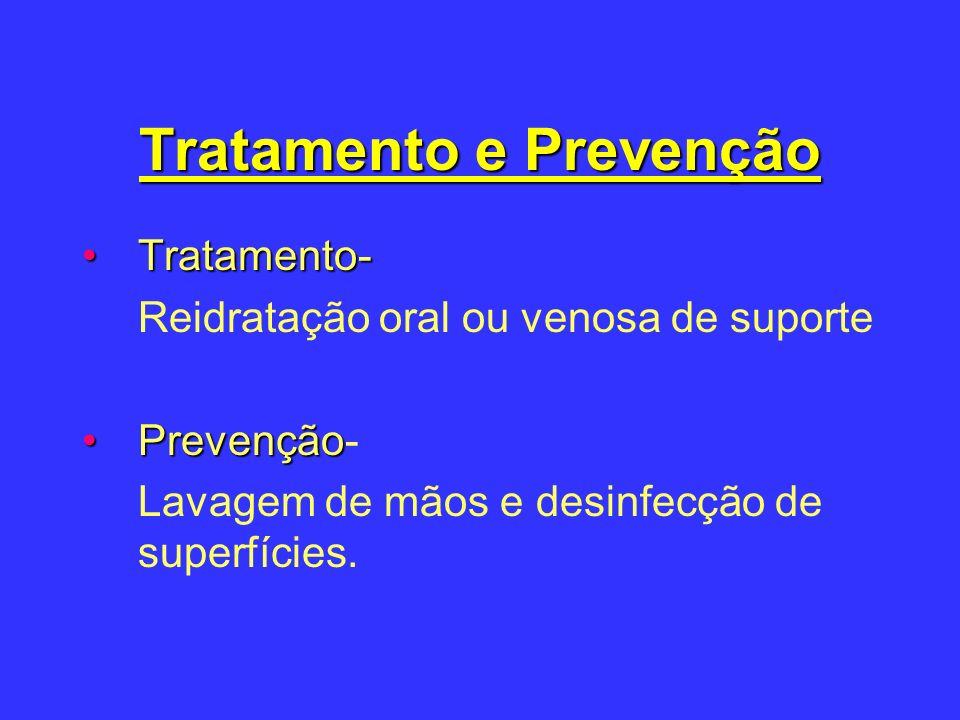 Tratamento e Prevenção Tratamento-Tratamento- Reidratação oral ou venosa de suporte PrevençãoPrevenção- Lavagem de mãos e desinfecção de superfícies.