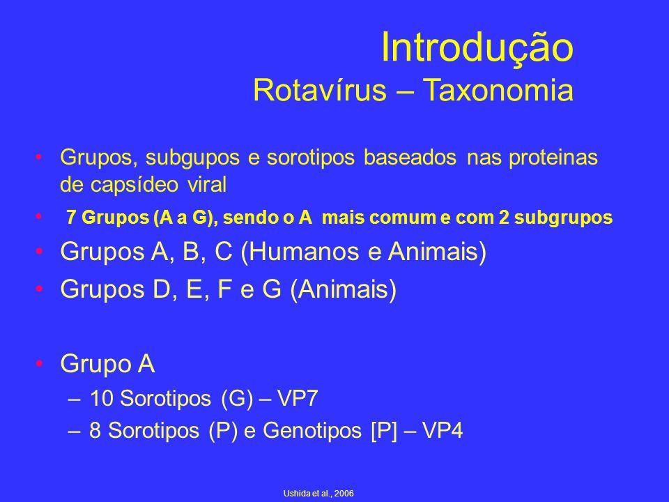 Introdução Rotavírus – Taxonomia Grupos, subgupos e sorotipos baseados nas proteinas de capsídeo viral 7 Grupos (A a G), sendo o A mais comum e com 2