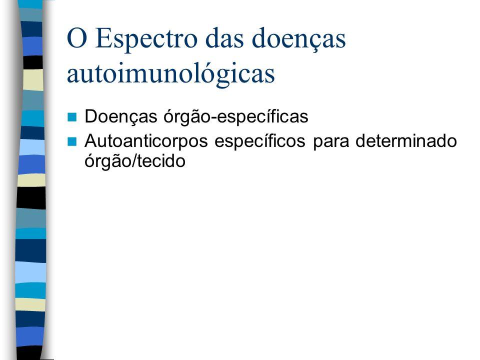 O Espectro das doenças autoimunológicas Doenças órgão-específicas Autoanticorpos específicos para determinado órgão/tecido