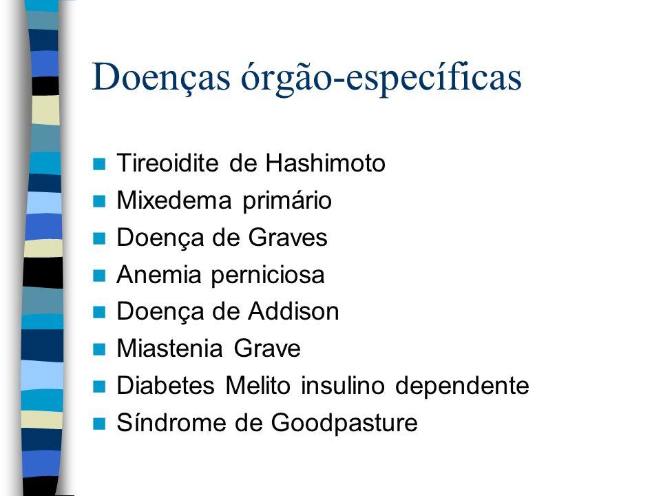 Doenças órgão-específicas Tireoidite de Hashimoto Mixedema primário Doença de Graves Anemia perniciosa Doença de Addison Miastenia Grave Diabetes Meli