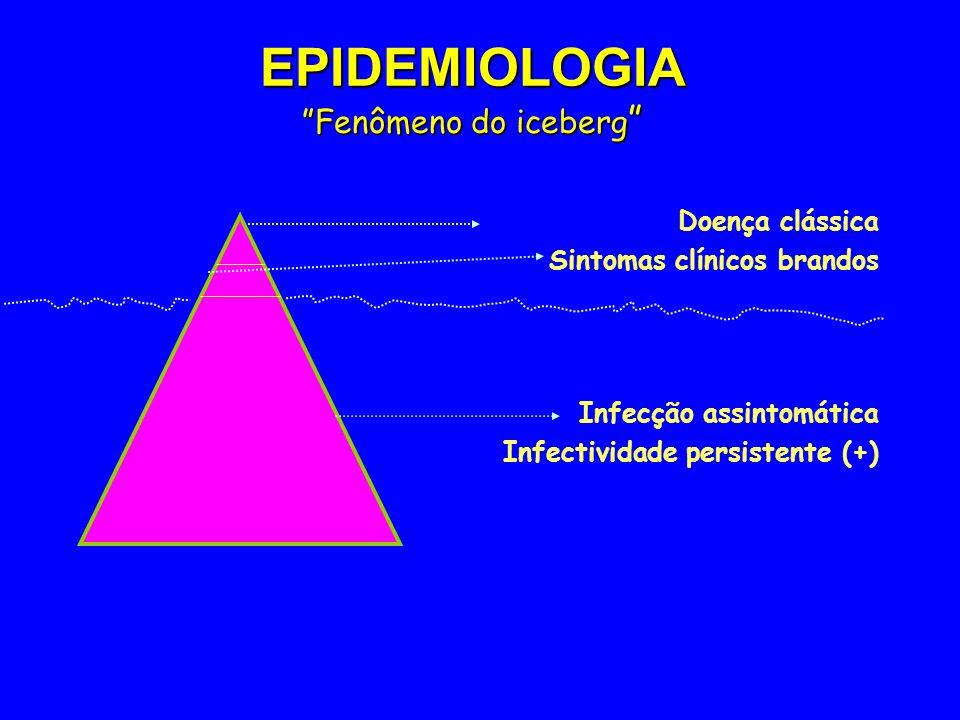 EPIDEMIOLOGIA Fenômeno do iceberg EPIDEMIOLOGIA Fenômeno do iceberg Doença clássica Sintomas clínicos brandos Infecção assintomática Infectividade per