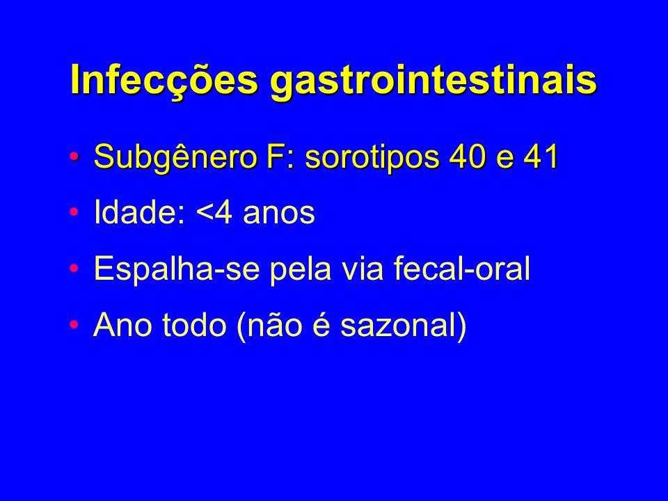 Infecções gastrointestinais Subgênero F: sorotipos 40 e 41Subgênero F: sorotipos 40 e 41 Idade: <4 anos Espalha-se pela via fecal-oral Ano todo (não é