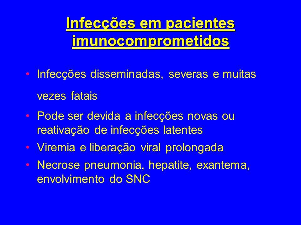 Infecções em pacientes imunocomprometidos Infecções disseminadas, severas e muitas vezes fatais Pode ser devida a infecções novas ou reativação de inf