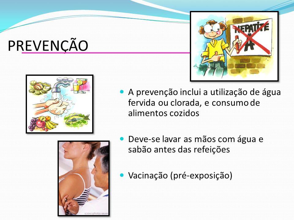 PREVENÇÃO A prevenção inclui a utilização de água fervida ou clorada, e consumo de alimentos cozidos Deve-se lavar as mãos com água e sabão antes das refeições Vacinação (pré-exposição)