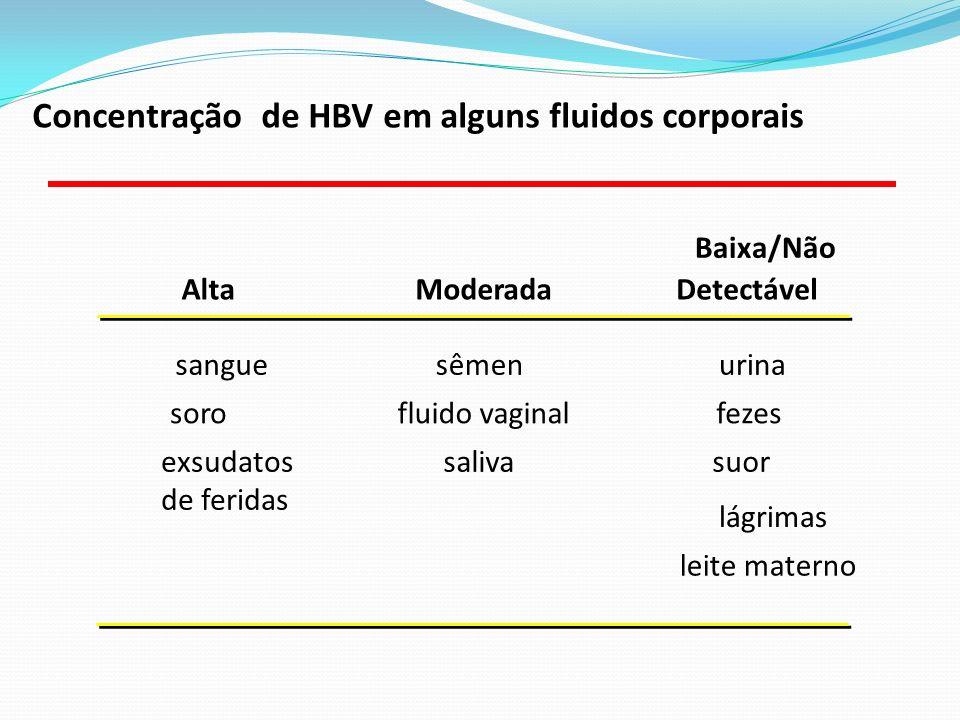 AltaModerada Baixa/Não Detectável sanguesêmenurina sorofluido vaginalfezes exsudatos de feridas salivasuor lágrimas leite materno Concentração de HBV em alguns fluidos corporais