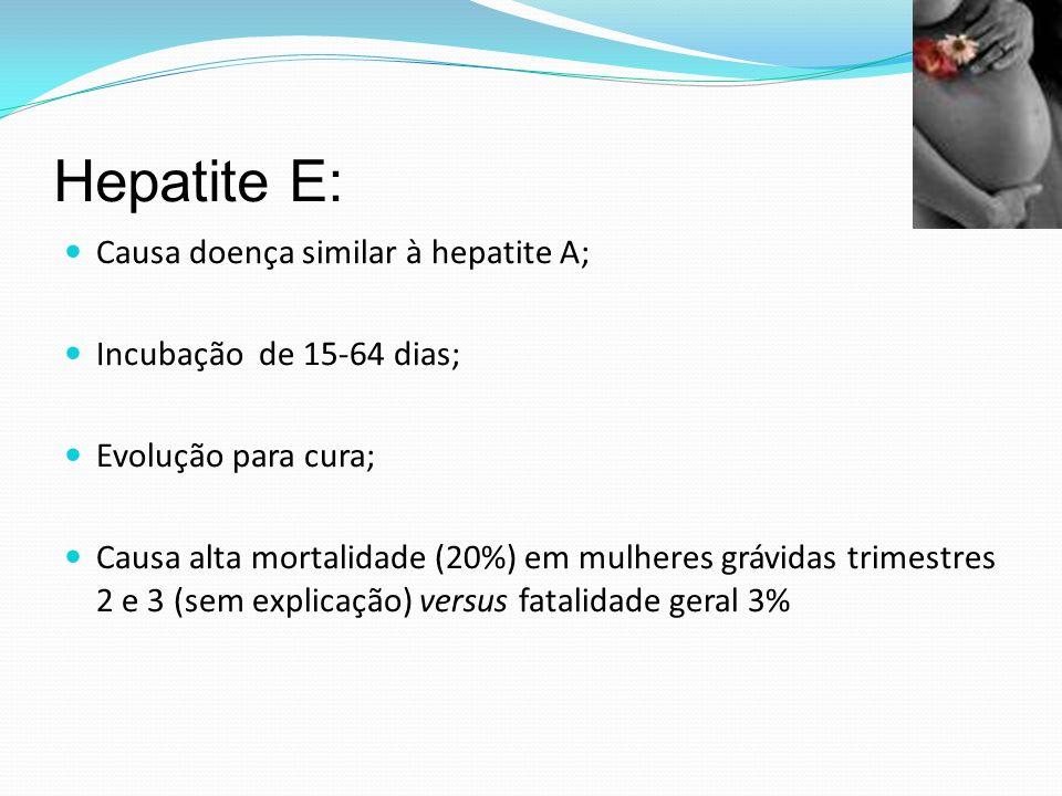 Hepatite E: Causa doença similar à hepatite A; Incubação de 15-64 dias; Evolução para cura; Causa alta mortalidade (20%) em mulheres grávidas trimestres 2 e 3 (sem explicação) versus fatalidade geral 3%