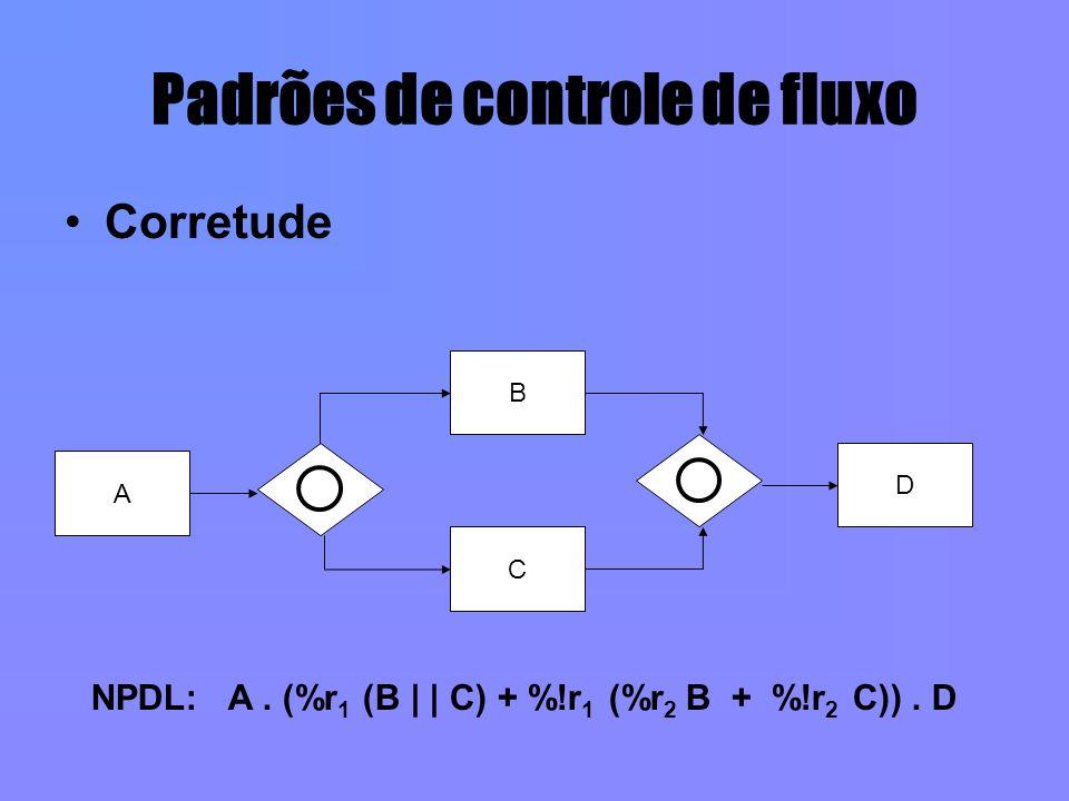 Padrões de controle de fluxo Corretude A B C D NPDL: A. (%r 1 (B | | C) + %!r 1 (%r 2 B + %!r 2 C)). D