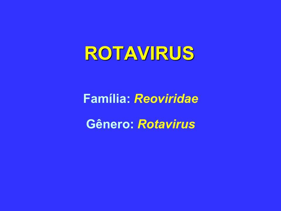 ROTAVIRUS Isolado primeiramente em 1973 de crianças com diarréia Identificados por ME de biópsias de duodeno Linhagens humanas e animais