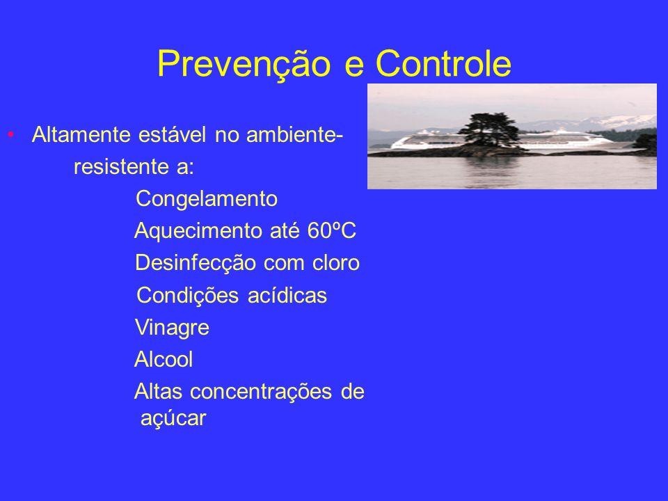Prevenção e Controle Altamente estável no ambiente- resistente a: Congelamento Aquecimento até 60ºC Desinfecção com cloro Condições acídicas Vinagre A