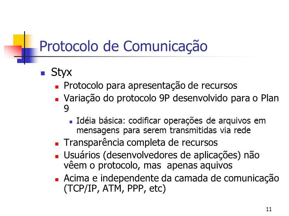 11 Protocolo de Comunicação Styx Protocolo para apresentação de recursos Variação do protocolo 9P desenvolvido para o Plan 9 Idéia básica: codificar o