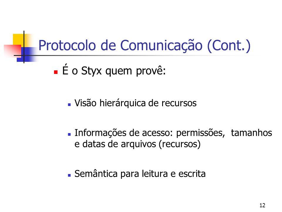 12 Protocolo de Comunicação (Cont.) É o Styx quem provê: Visão hierárquica de recursos Informações de acesso: permissões, tamanhos e datas de arquivos