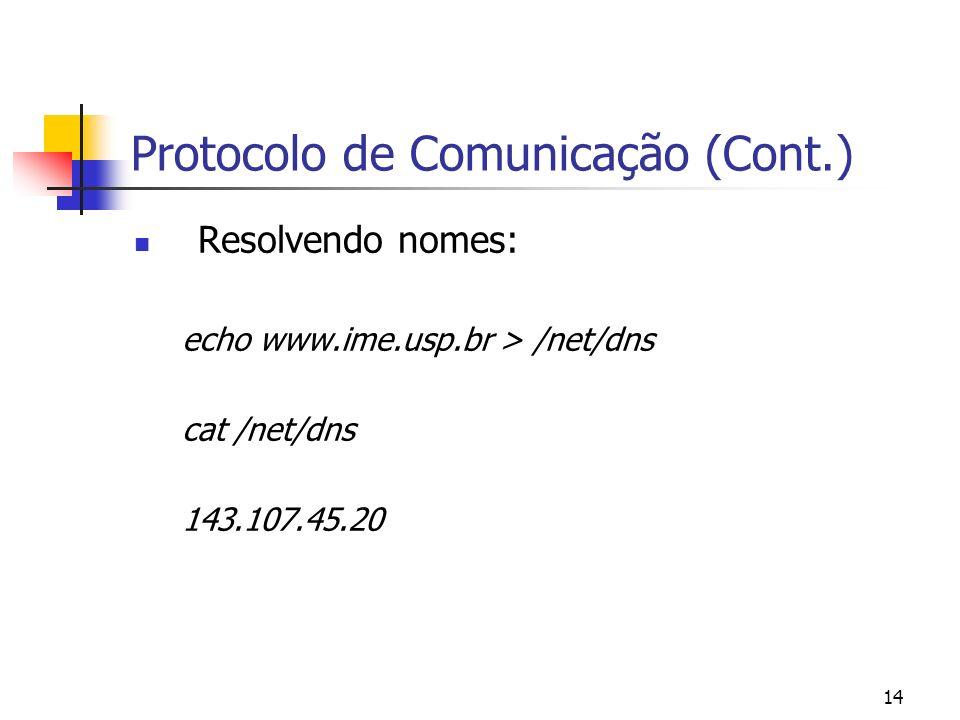 14 Protocolo de Comunicação (Cont.) Resolvendo nomes: echo www.ime.usp.br > /net/dns cat /net/dns 143.107.45.20