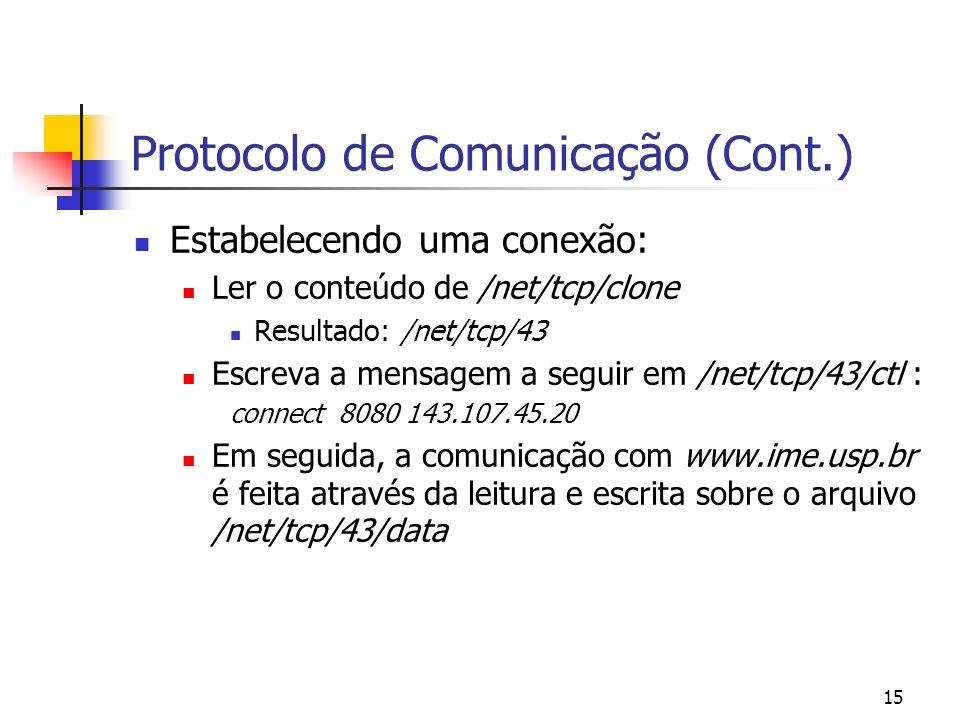 15 Protocolo de Comunicação (Cont.) Estabelecendo uma conexão: Ler o conteúdo de /net/tcp/clone Resultado: /net/tcp/43 Escreva a mensagem a seguir em