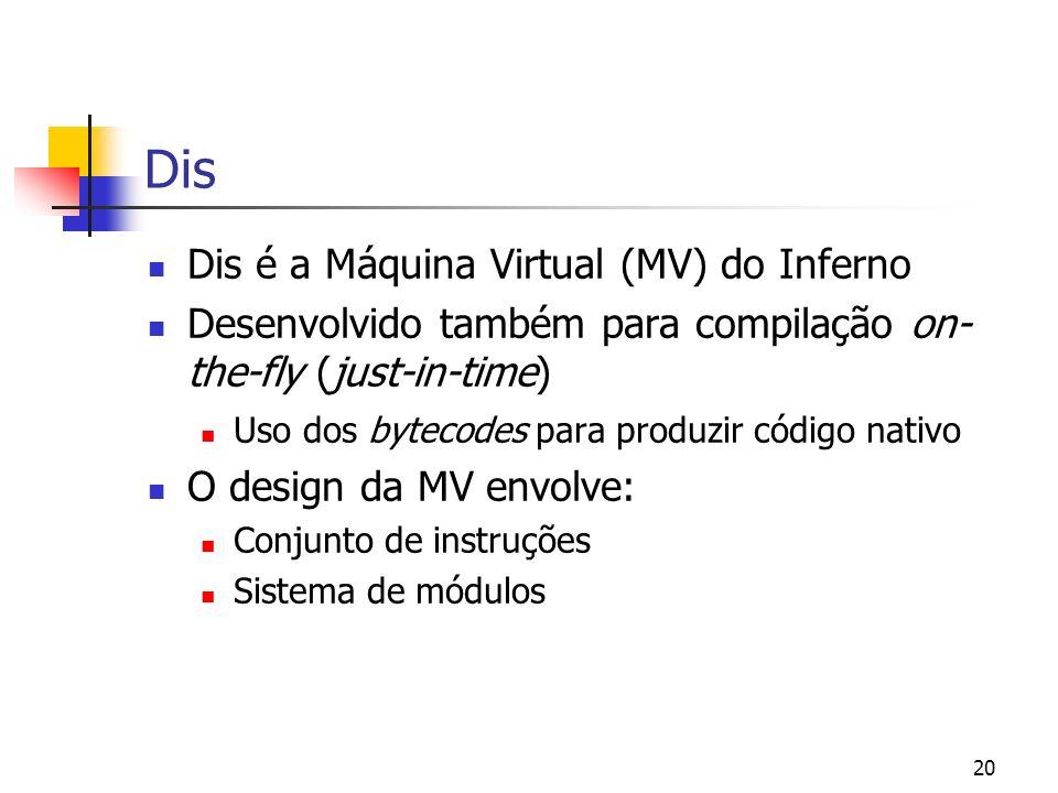 20 Dis Dis é a Máquina Virtual (MV) do Inferno Desenvolvido também para compilação on- the-fly (just-in-time) Uso dos bytecodes para produzir código n