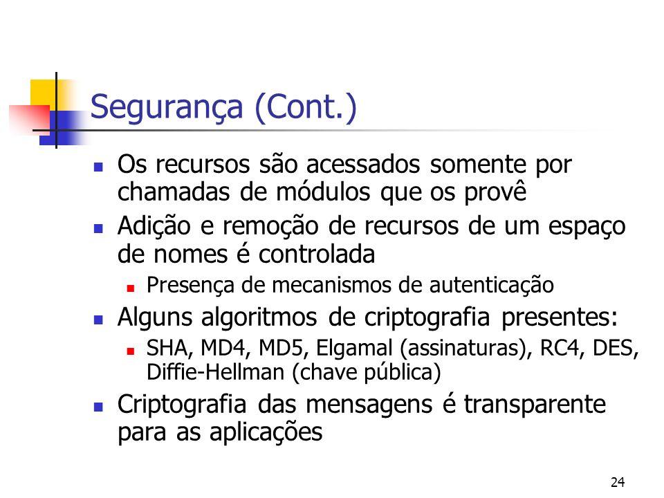 24 Segurança (Cont.) Os recursos são acessados somente por chamadas de módulos que os provê Adição e remoção de recursos de um espaço de nomes é contr