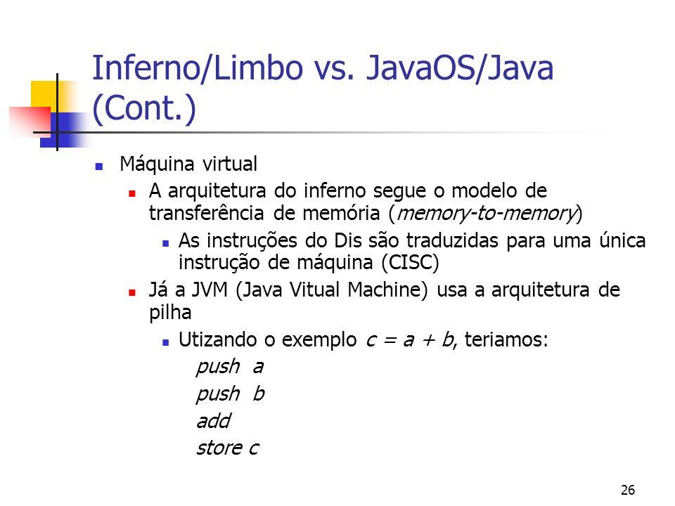 26 Inferno/Limbo vs. JavaOS/Java (Cont.) Máquina virtual A arquitetura do inferno segue o modelo de transferência de memória (memory-to-memory) As ins