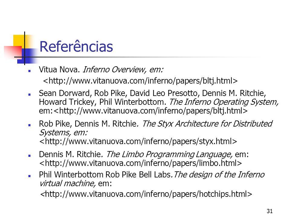 31 Referências Vitua Nova. Inferno Overview, em: Sean Dorward, Rob Pike, David Leo Presotto, Dennis M. Ritchie, Howard Trickey, Phil Winterbottom. The