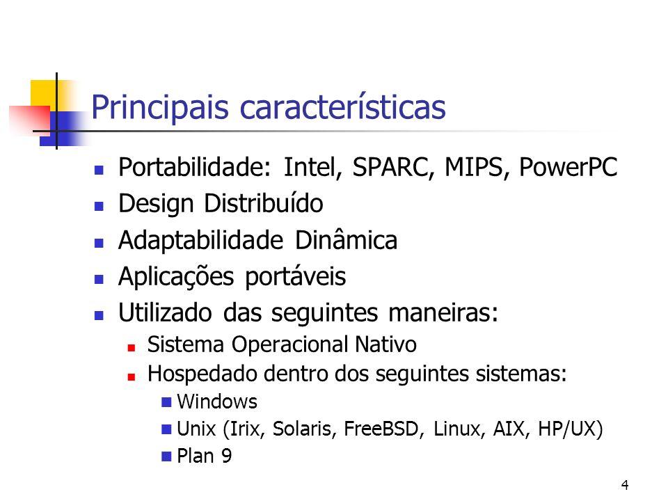 4 Principais características Portabilidade: Intel, SPARC, MIPS, PowerPC Design Distribuído Adaptabilidade Dinâmica Aplicações portáveis Utilizado das
