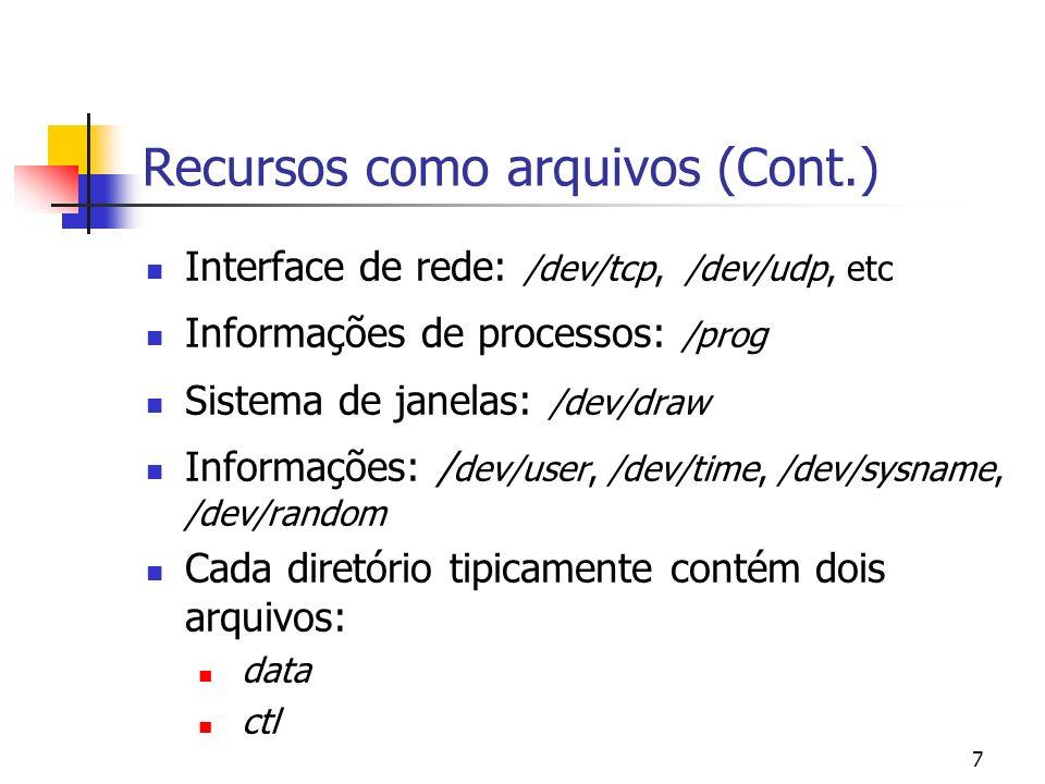 7 Recursos como arquivos (Cont.) Interface de rede: /dev/tcp, /dev/udp, etc Informações de processos: /prog Sistema de janelas: /dev/draw Informações: