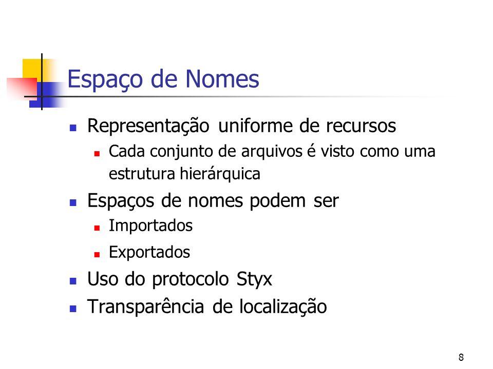 8 Espaço de Nomes Representação uniforme de recursos Cada conjunto de arquivos é visto como uma estrutura hierárquica Espaços de nomes podem ser Impor