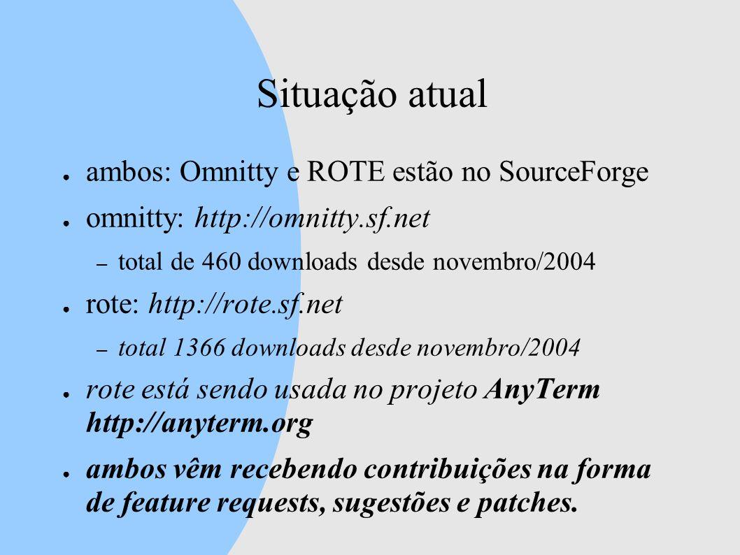 Situação atual ambos: Omnitty e ROTE estão no SourceForge omnitty: http://omnitty.sf.net – total de 460 downloads desde novembro/2004 rote: http://rote.sf.net – total 1366 downloads desde novembro/2004 rote está sendo usada no projeto AnyTerm http://anyterm.org ambos vêm recebendo contribuições na forma de feature requests, sugestões e patches.