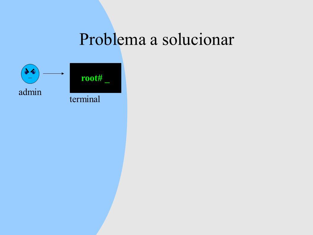Problema a solucionar admin root# _ terminal