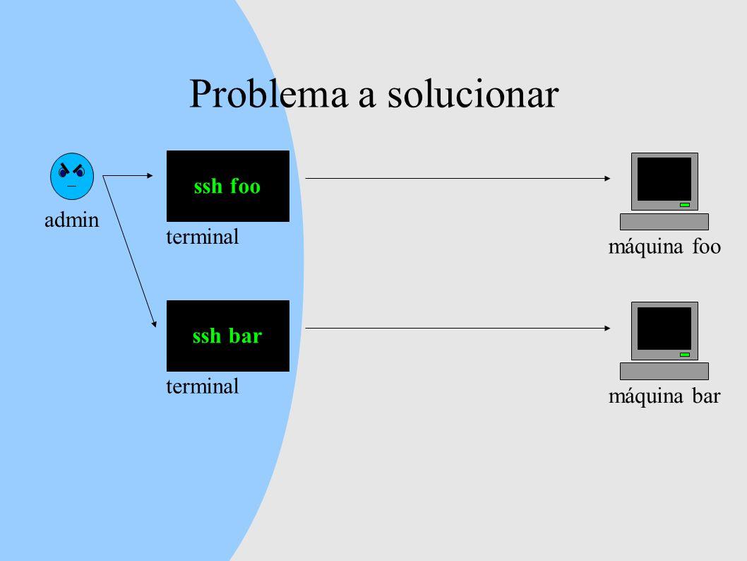 Problema a solucionar admin ssh foo máquina foo terminal ssh bar máquina bar terminal
