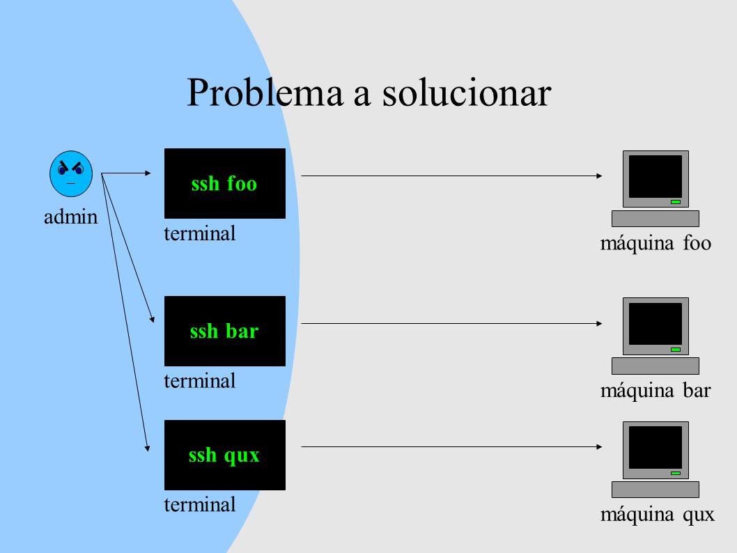 Problema a solucionar admin ssh foo máquina foo terminal ssh bar máquina bar terminal ssh qux máquina qux terminal
